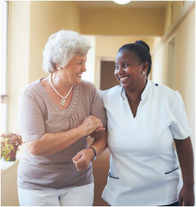 Staff accompanying the elder patient